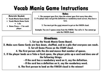 Vocab Mania Game