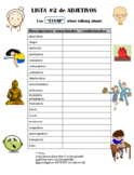 Vocab Notesheet - Spanish adjectives used with ESTAR