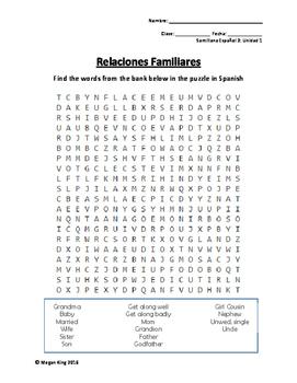 Vocab Practice Puzzles: Santillana Spanish 2, Unidad 1: Mi