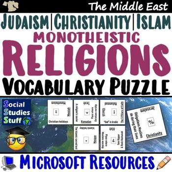 Vocab Puzzle Challenges- The 3 Religions (Chrisitanity, Judaism, Islam)