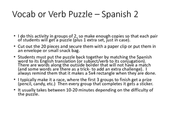 Vocab Puzzle- Spanish 2 (realidades 4A: childhood toys and games)