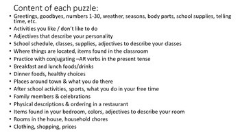 Vocab Puzzle - physical descriptions, ordering in a restaurant