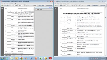 Vocab Quiz and Key for Southwest Asia and North Africa Geography