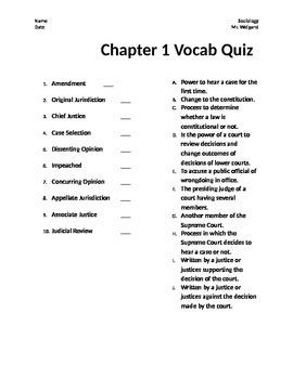 Vocab Quiz for U.S Supreme Court