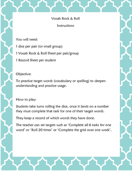 Vocab Rock and Roll Sheet: Level 2