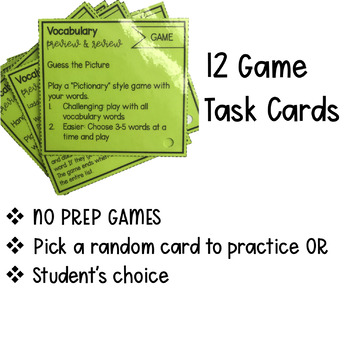 Vocabulary Preview and Review Task Cards