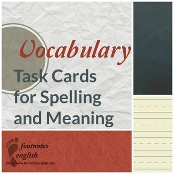 Vocab Task Cards - Spelling and Meaning - for Adult ESL