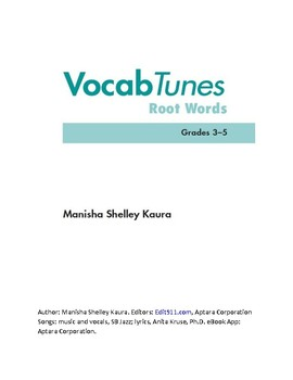 Vocab Tunes Root Words Workbook- Reaserch and Ch.1 & 2