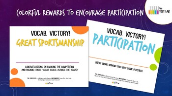 Vocab. Victory! Vocabulary Review Game Customizable Student Certificates