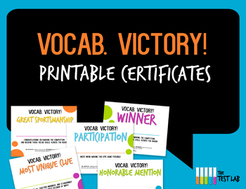 Vocab. Victory! Vocabulary Review Game Customizable Studen