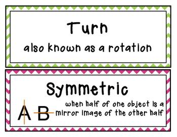 Flip, Slide, Turn, Reflection, Rotation, Translation Vocab / Word Wall Cards