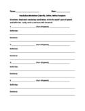 Vocab Worksheet