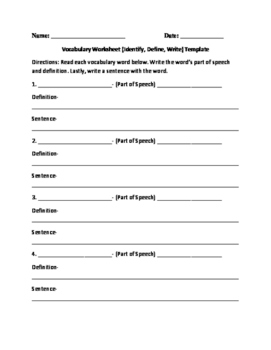 Vocab Worksheet