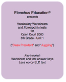 Vocab Worksheets and tests for Open Court Reading 2000, Unit 1