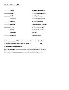 Vocab and quiz for Rikki Tikki Tavi