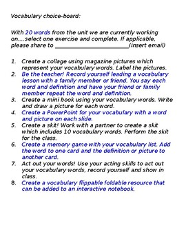 Vocab choice board activity