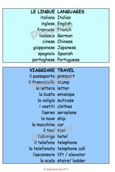Vocab list in themes in Italian with updates for life