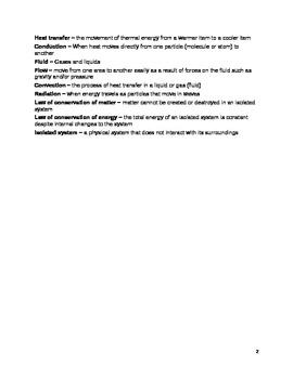 Vocab sheet - Heat Transfer - Middle School Science (6- 9)