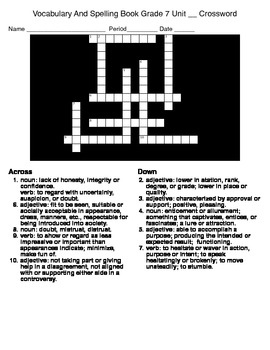 Vocab&Sp Gr7 Crossword&Word Search Lesson 1 (McDougal Littell)
