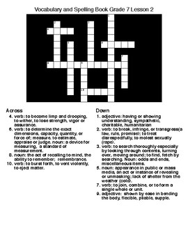 Vocab&SpGr 7 Crossword&Word Search Lesson 2 (McDougal Littell)