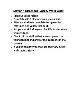 Vocab/Word work station directions