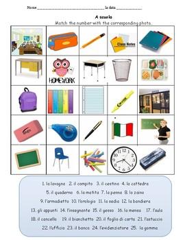 Vocabolario a scuola / nell'aula  Italian school vocabulary classroom vocabulary