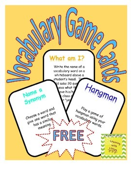 Vocabualary Game Cards!