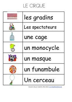 Resultado de imagen de vocabulaire du cirque