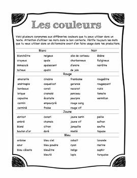 Vocabulaire - Les couleurs