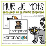 Vocabulaire animaux de la forêt tropicale {FRENCH Rainforest Animals Word Wall}