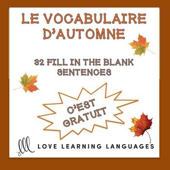 Le vocabulaire d'automne - Word list and worksheet