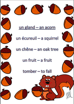 Vocabulaire d'Automne - French Fall Vocabulary Taboo Game - Autumn