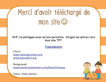 Vocabulaire d'automne + Bingo / Fall vocabulary + Bingo (French)
