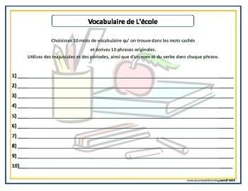 Vocabulaire de L'école-Mots Cachés-Phrases