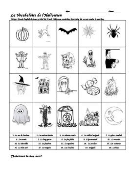 Vocabulaire de l'Halloween et les prepositions