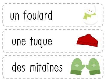 Vocabulaire d'hiver + Bingo/Winter vocabulary + Bingo (French)