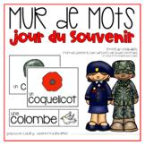 Vocabulaire jour du Souvenir {FRENCH Remembrance Day Word Wall}