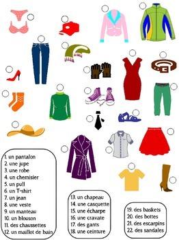 Vocabulaire: les vêtements - match the pictures