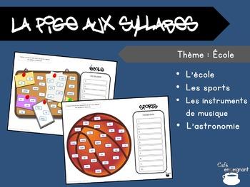 Vocabulaire, pige aux syllabes (École, sports, musique, astronomie)