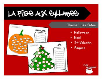 Vocabulaire, pige aux syllabes (Halloween, Noël, Pâques, St-Valentin)