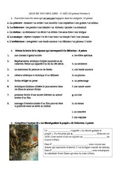 Vocabulaire vocabulary french quiz francais ART cinema mus