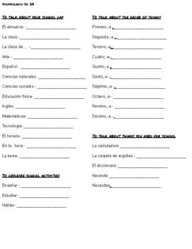 La clase: Vocabulary Notes