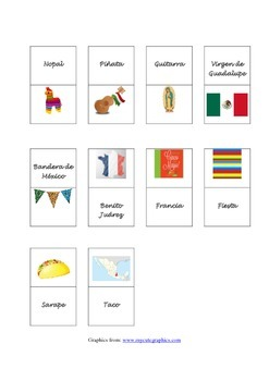 Vocabulario Cinco de Mayo domino / Spanish / juego/ Vocabulary/word search