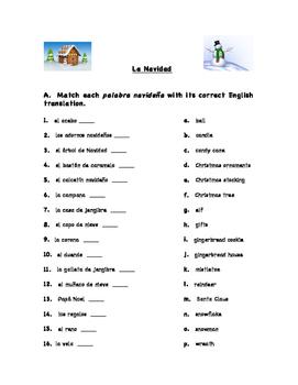 Vocabulario Navideño - Christmas Vocabulary Spanish