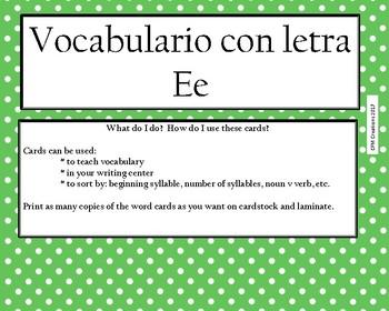 Vocabulario con Ee