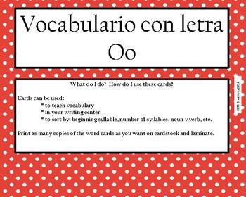 Vocabulario con Oo