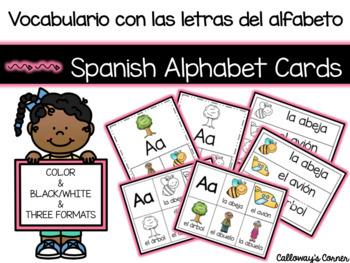 Vocabulario con las letras del alfabeto/Spanish Alphabet Vocabulary Cards