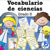 Vocabulario de ciencias Fusión Spanish 3rd Grade