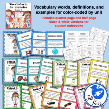 Vocabulario de ciencias Fusión Spanish 5th Grade
