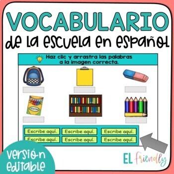 Vocabulario de la Escuela School Words in Spanish Google Classroom